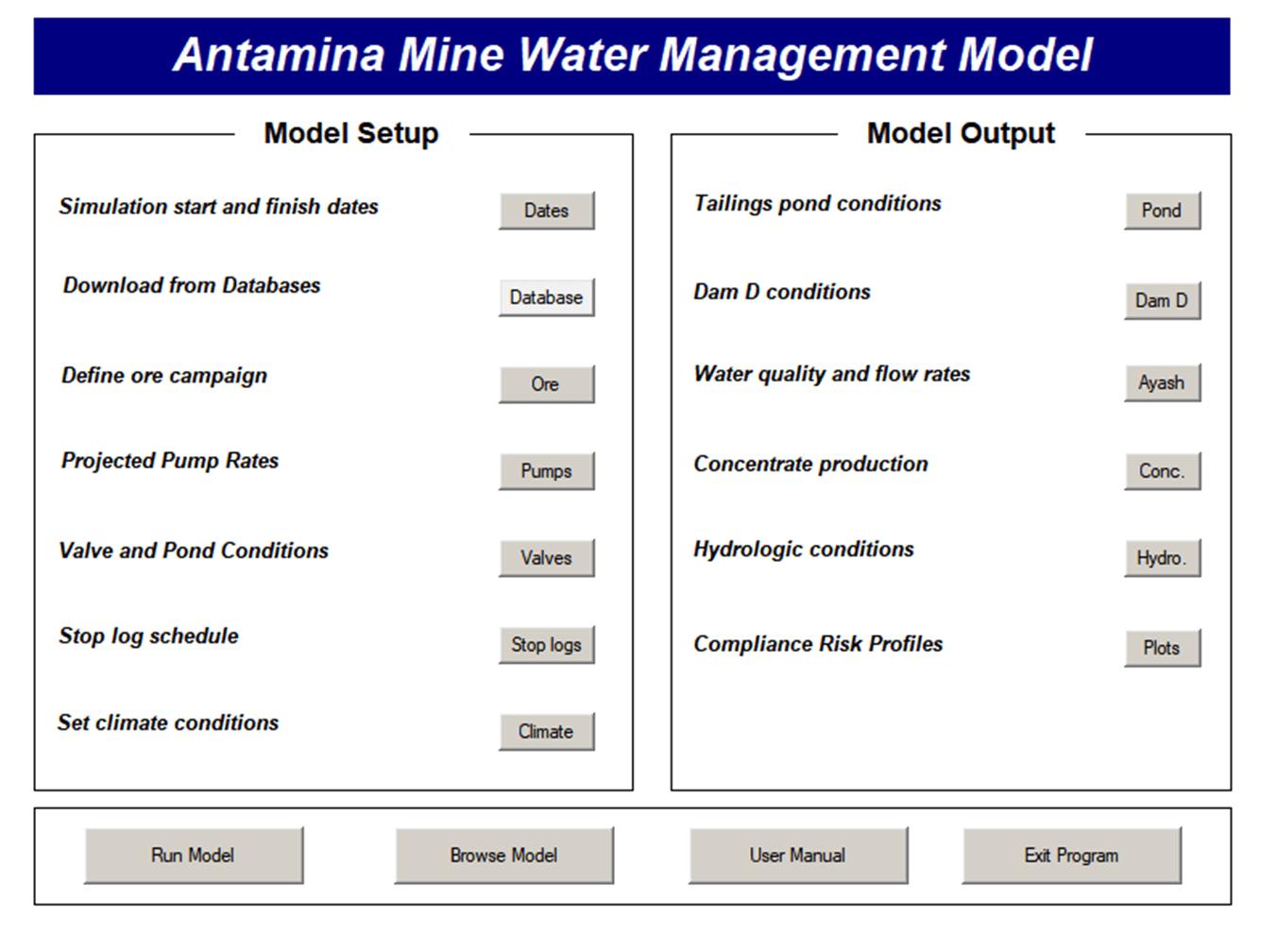 Antamina Mine Operation Simulation Model User Interface